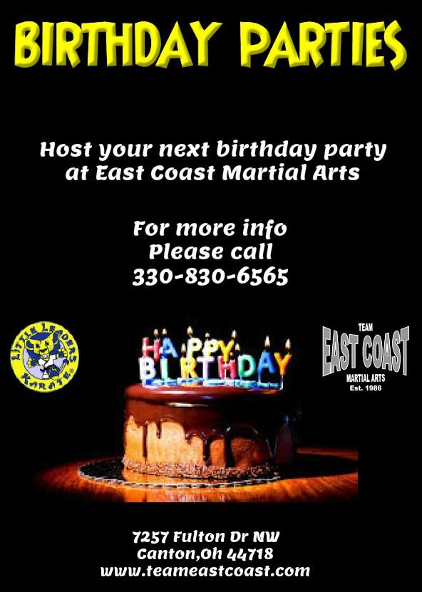 Birthday Parties! - East Coast Martial Arts