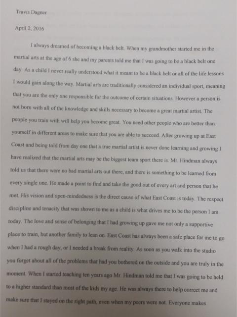 Travis Dagner Essay