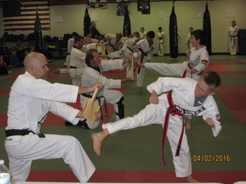 black belt test.board break