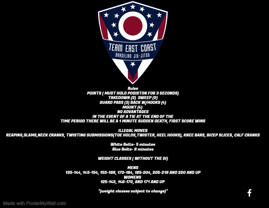 Team East Coast Open V – White and Blue Belt GI tournament – July 13th, 2019